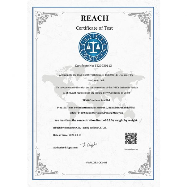 REACH / RoHS certificate of Compliance with VOC Standard
