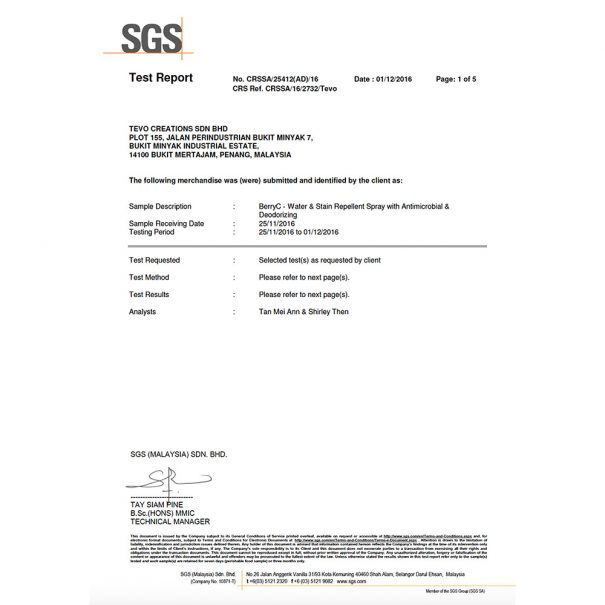 SGS certificate of bio safety for human 1