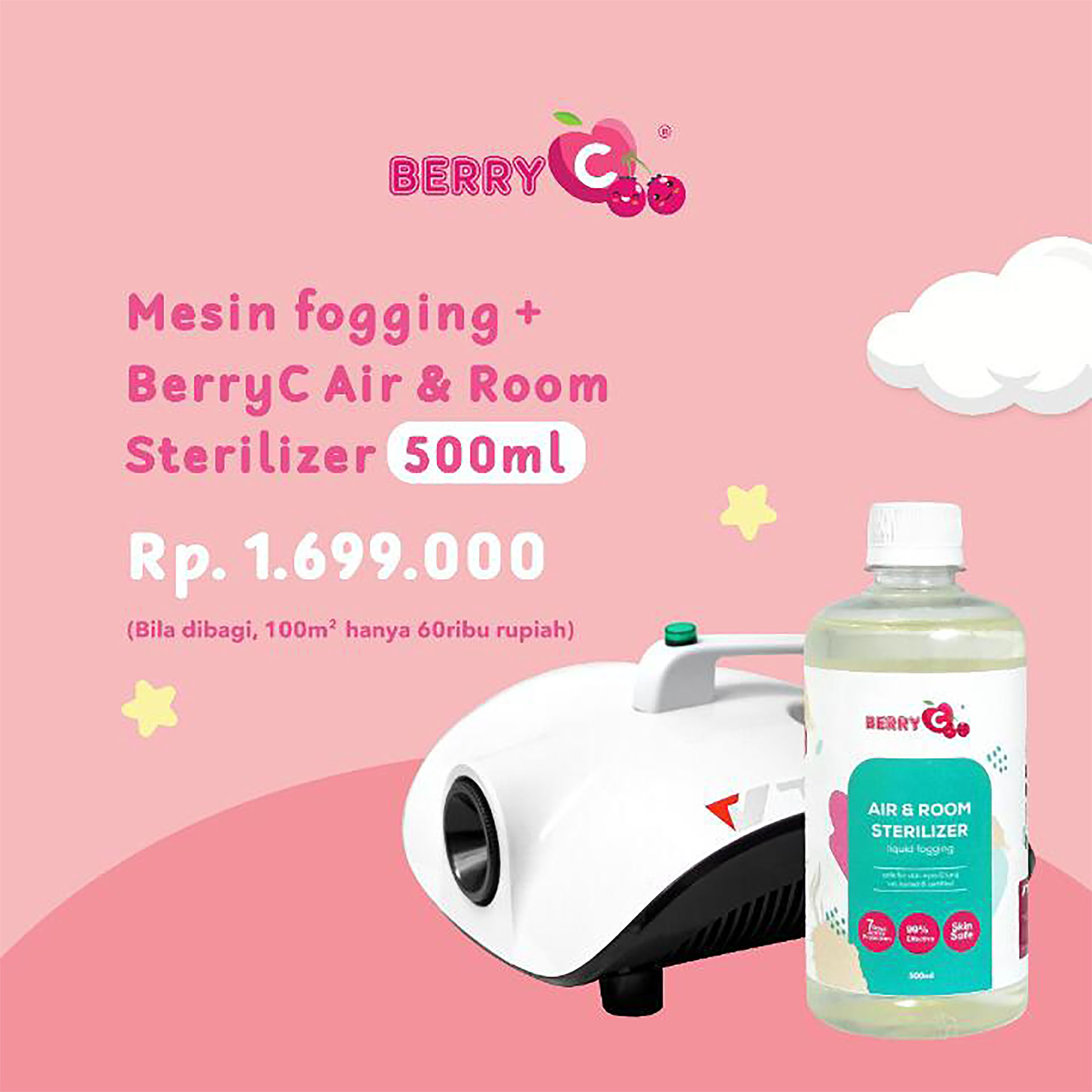 BerryC 500ml Air & Room Liquid Fogging + Machine